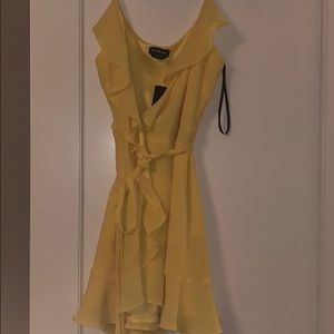 Bebe Yellow Wrap Sundress